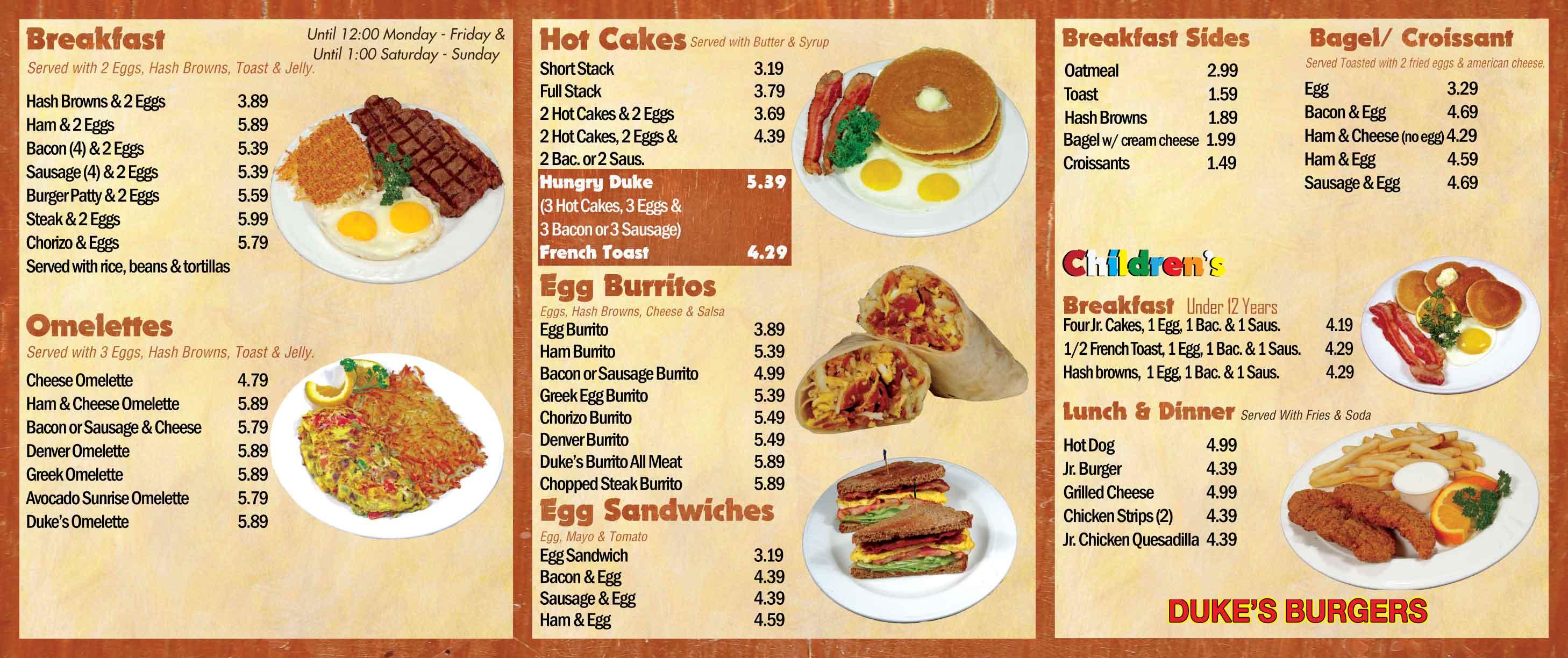 Duke's Burgers - Menu